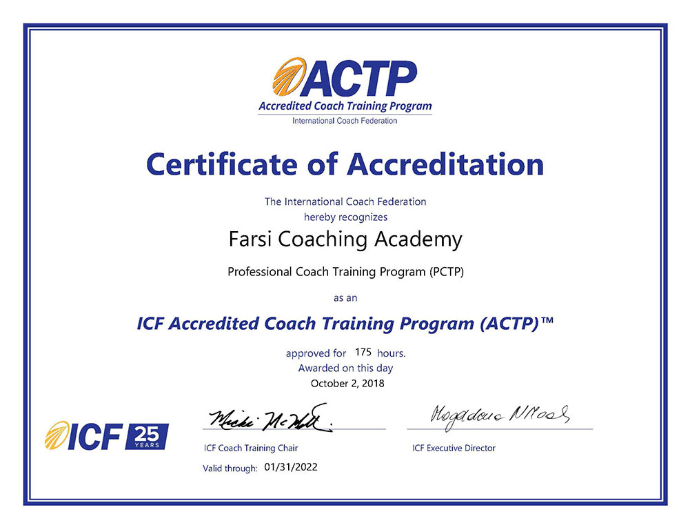 FCA 175hrs ACTP Certificate